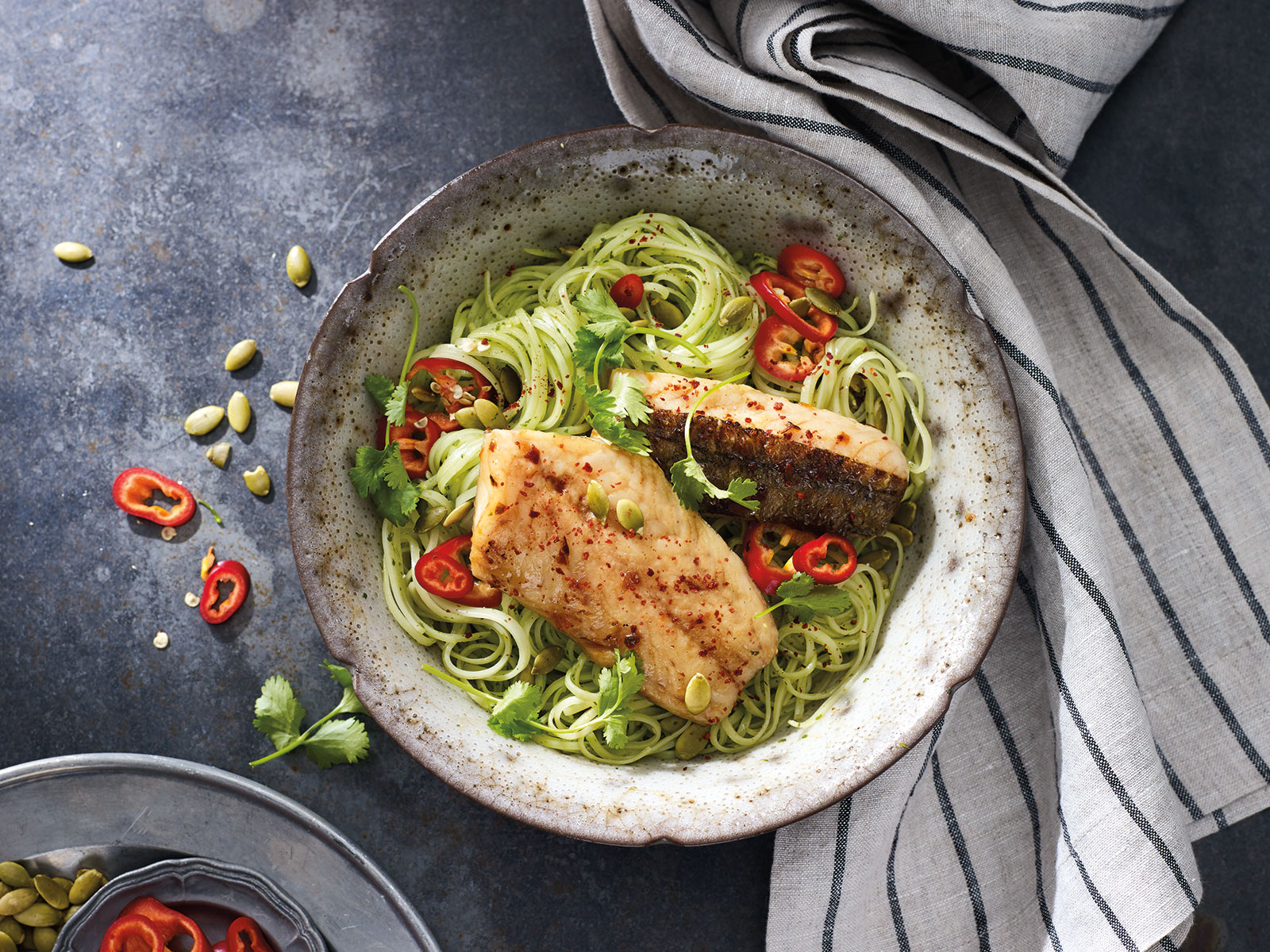 Wild Alaska Pollock with Sambal Glaze and Cilantro Rice Noodles