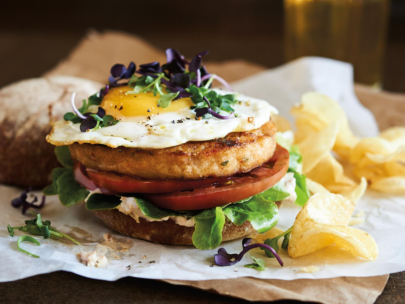 Wild Alaska Pollock Burger with Fried Egg Tapenade