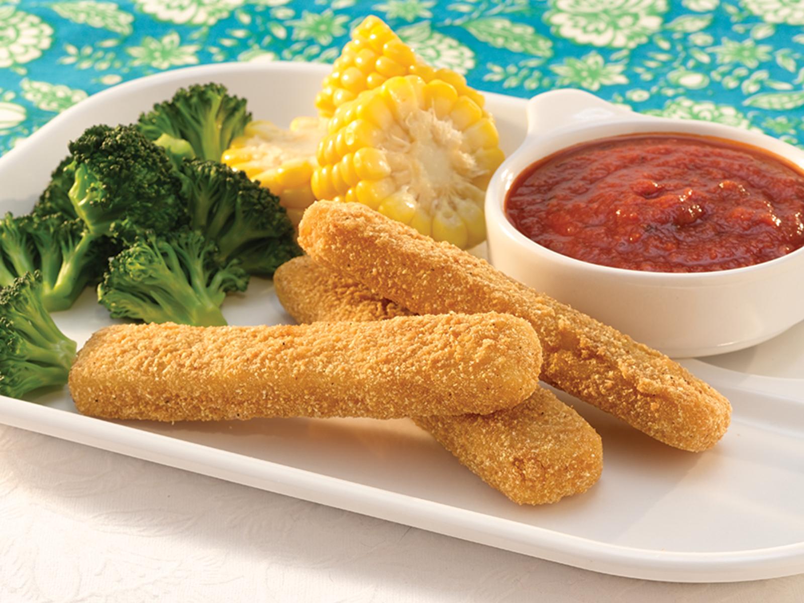 Crunchy Cornmeal Wild Alaska Pollock Strips 1.5 oz WG, CN, Oven Ready 418303