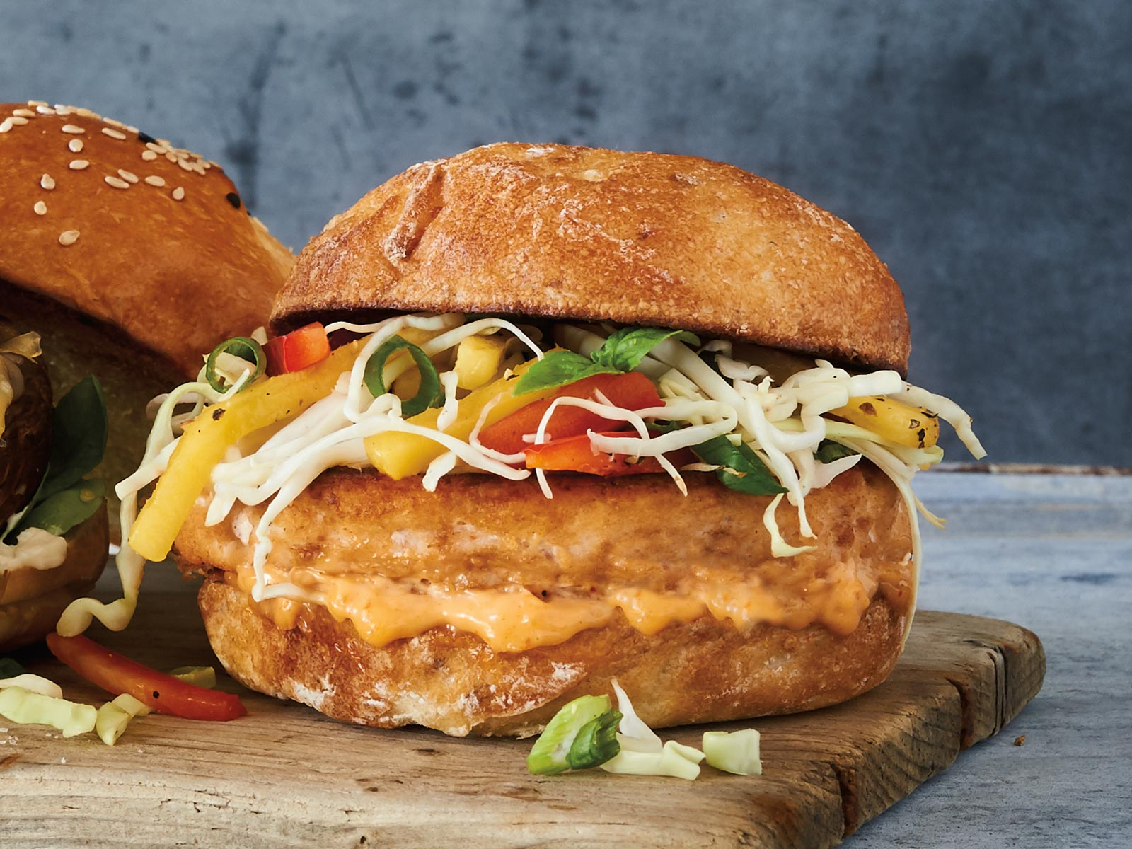 Wild Alaska Pollock Burger Thai Papaya Salad