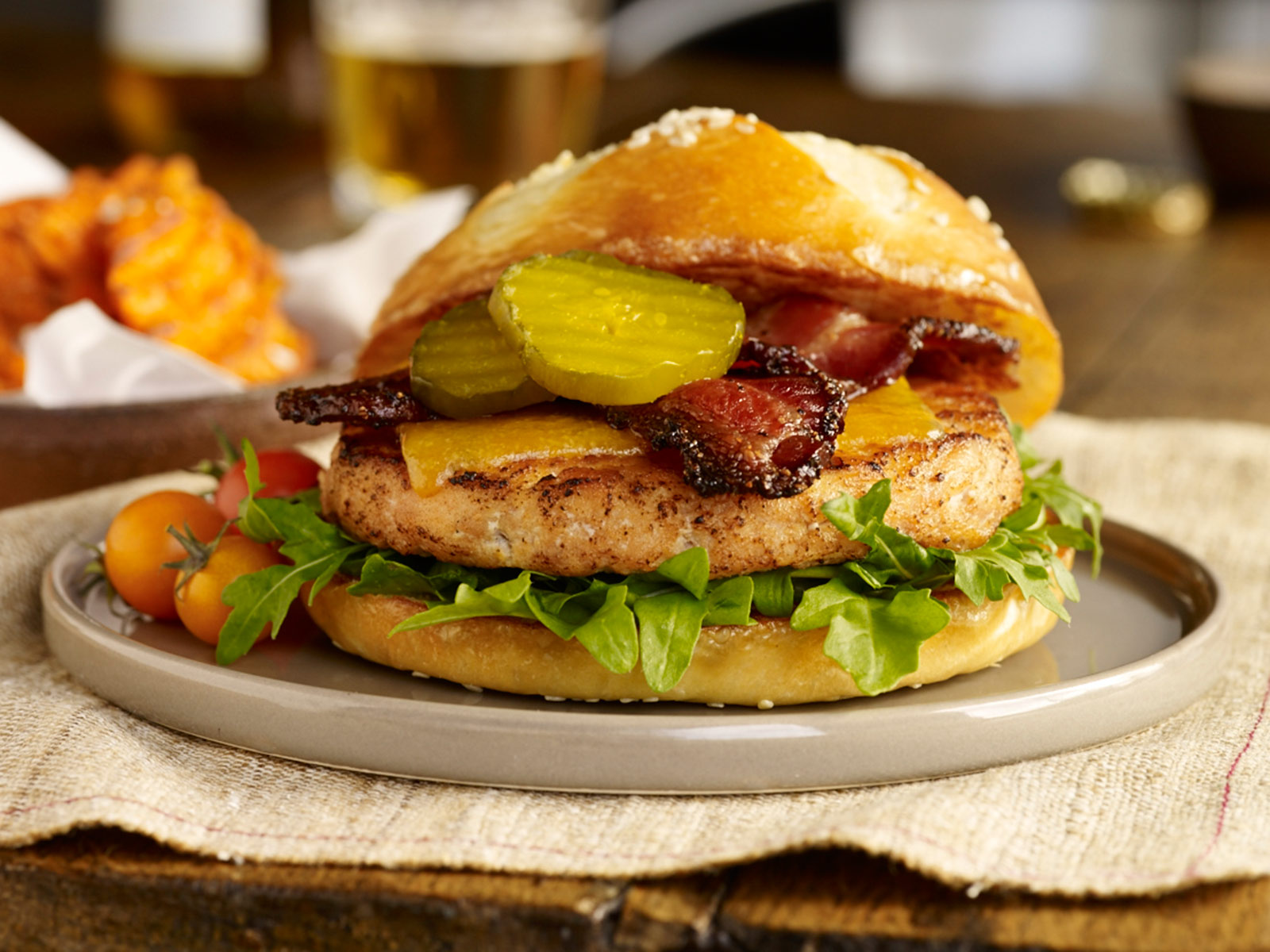Alaskan Salmon Burger with Peppered Bacon