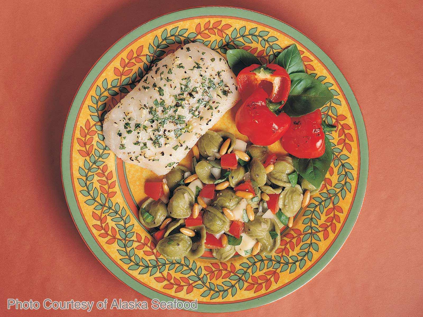 Grilled Alaska Cod with Brie-Tomato Pasta