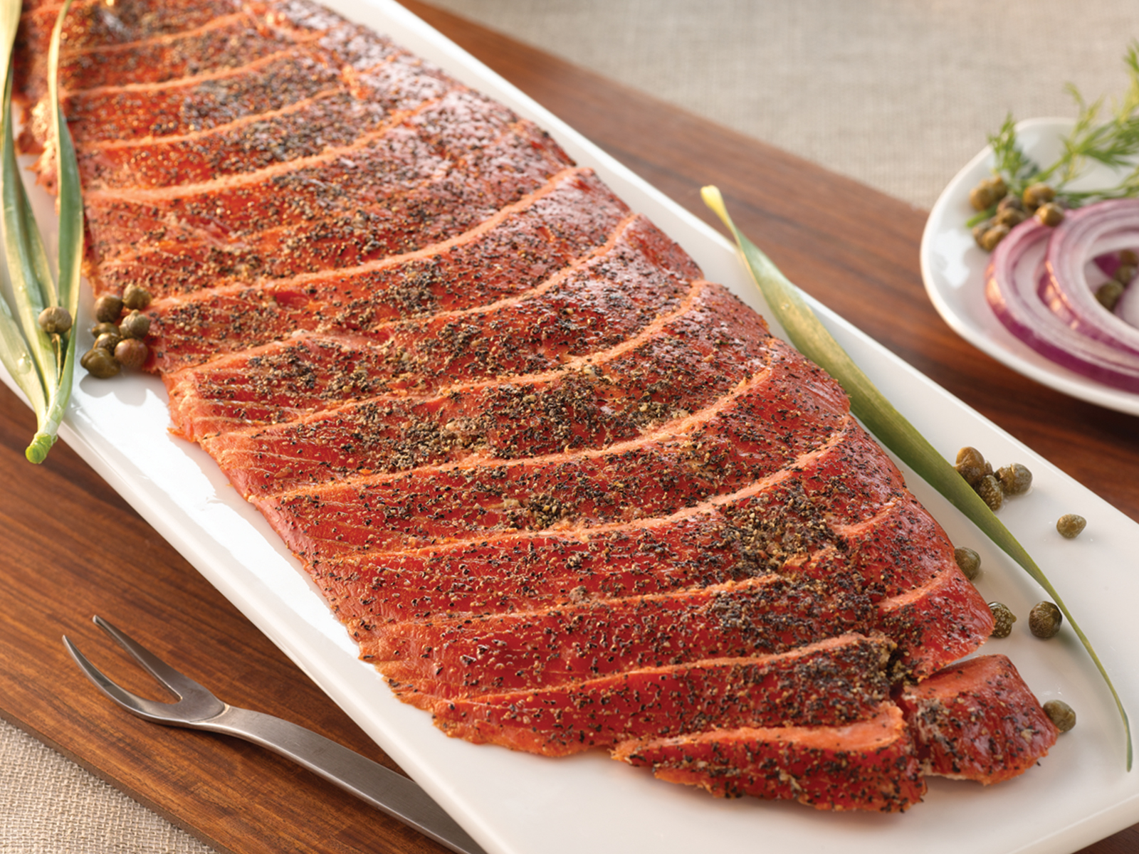 Hot Smoked Peppered Sockeye Salmon Sides 416674
