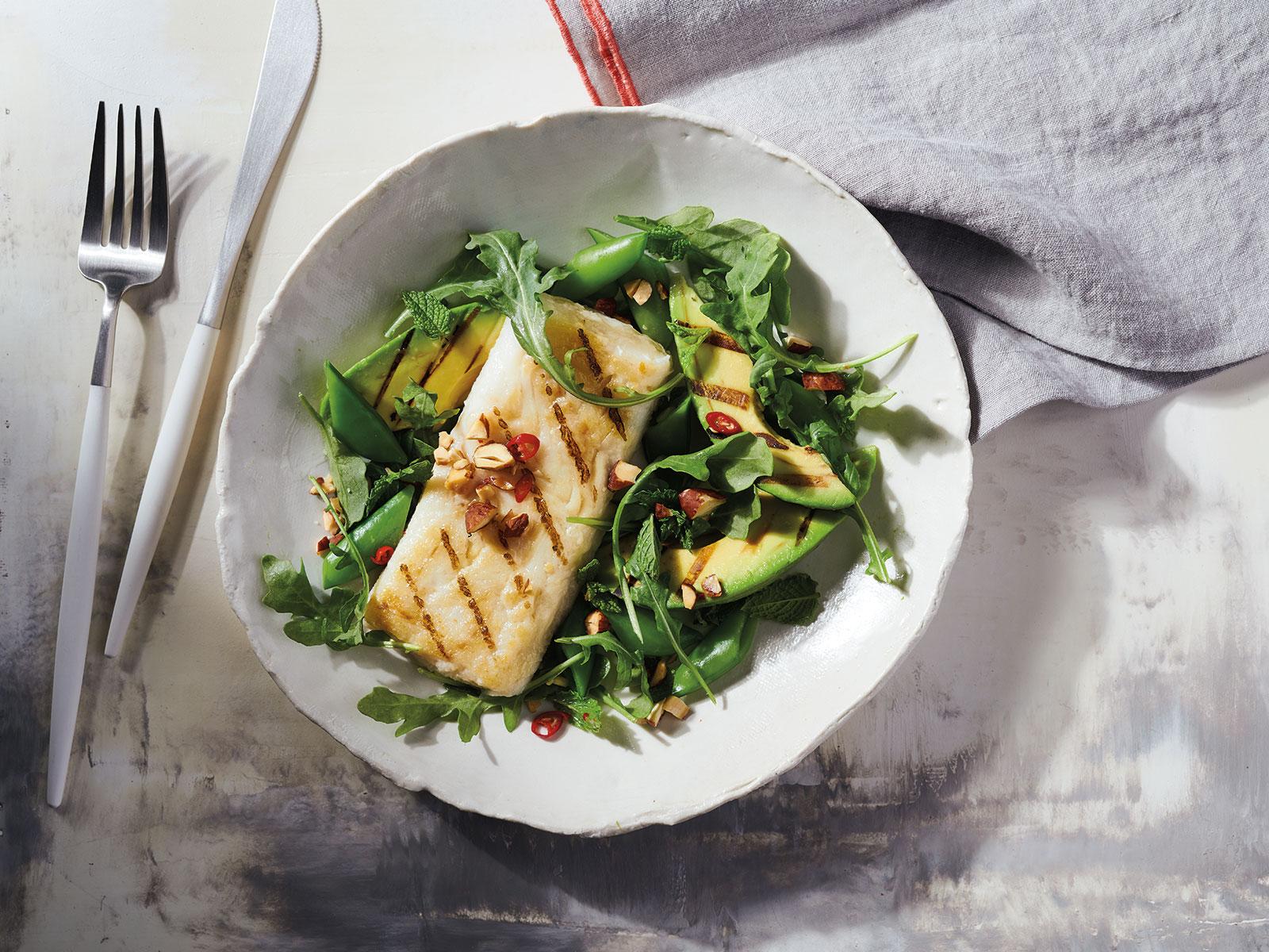Wild Alaska Pollock Salad with Grilled Avocado & Vietnamese Vinaigrette