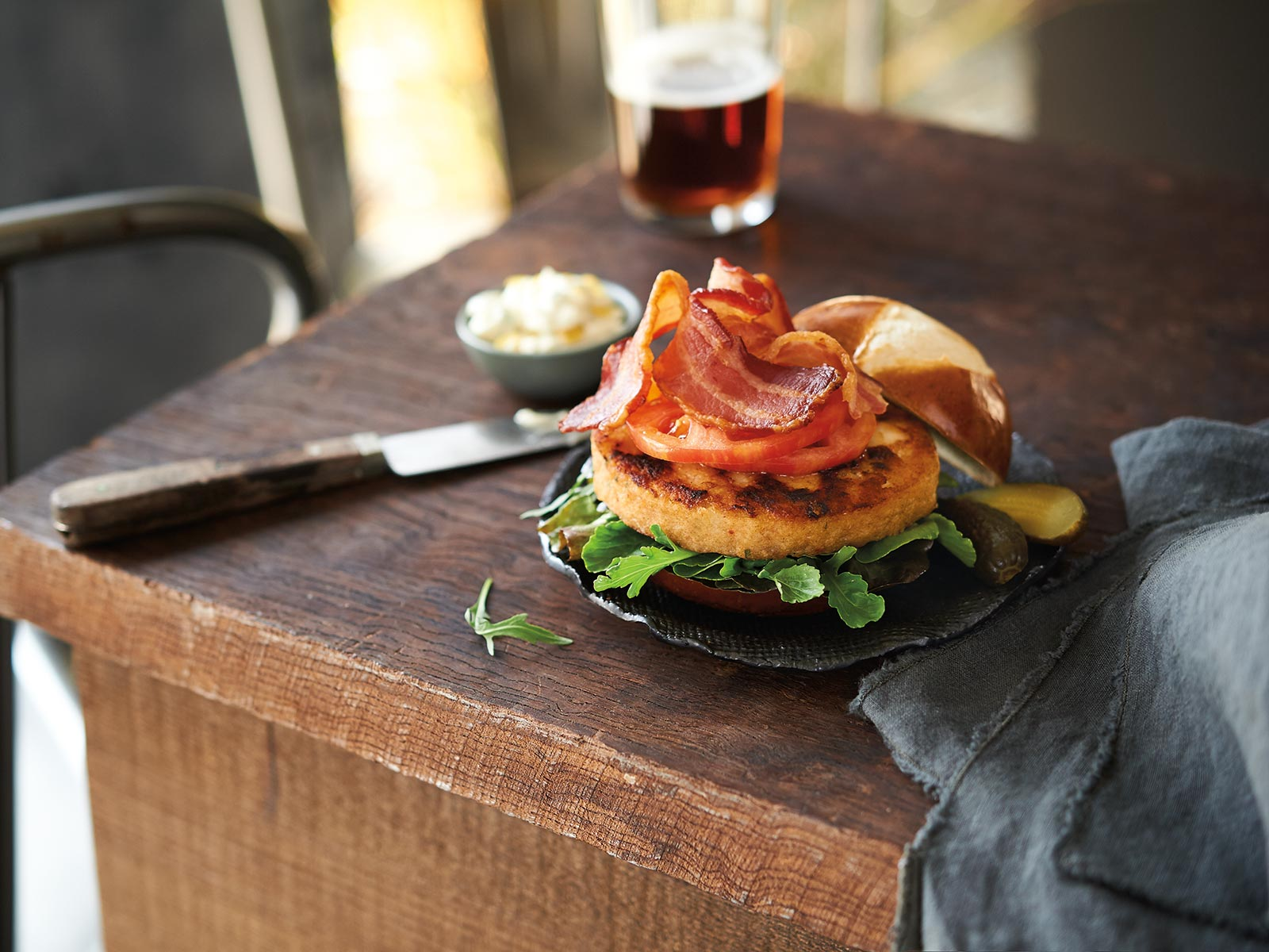 Bacon and Blue Wild Alaska Pollock Burger