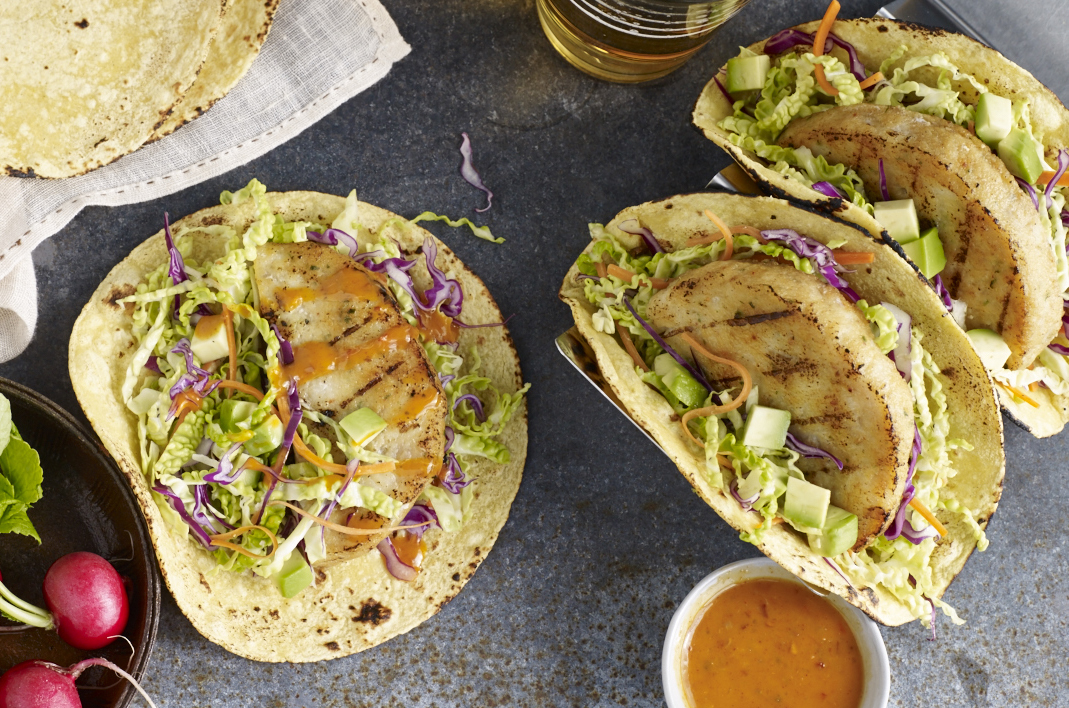Wild Alaska Pollock Asian Tacos with Ginger Slaw