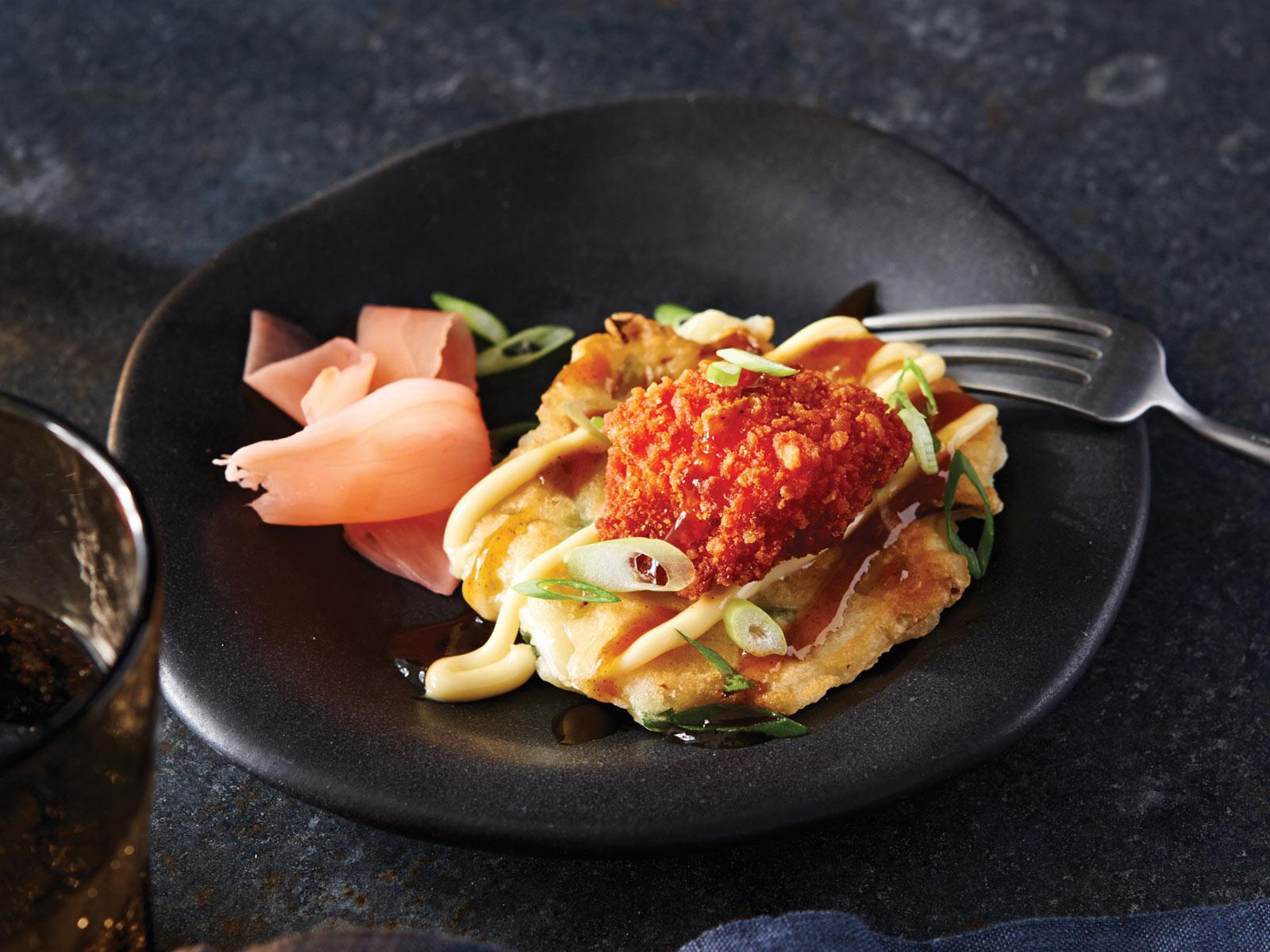 Mini Osaka Pancakes wih Sriracha Cod Bites