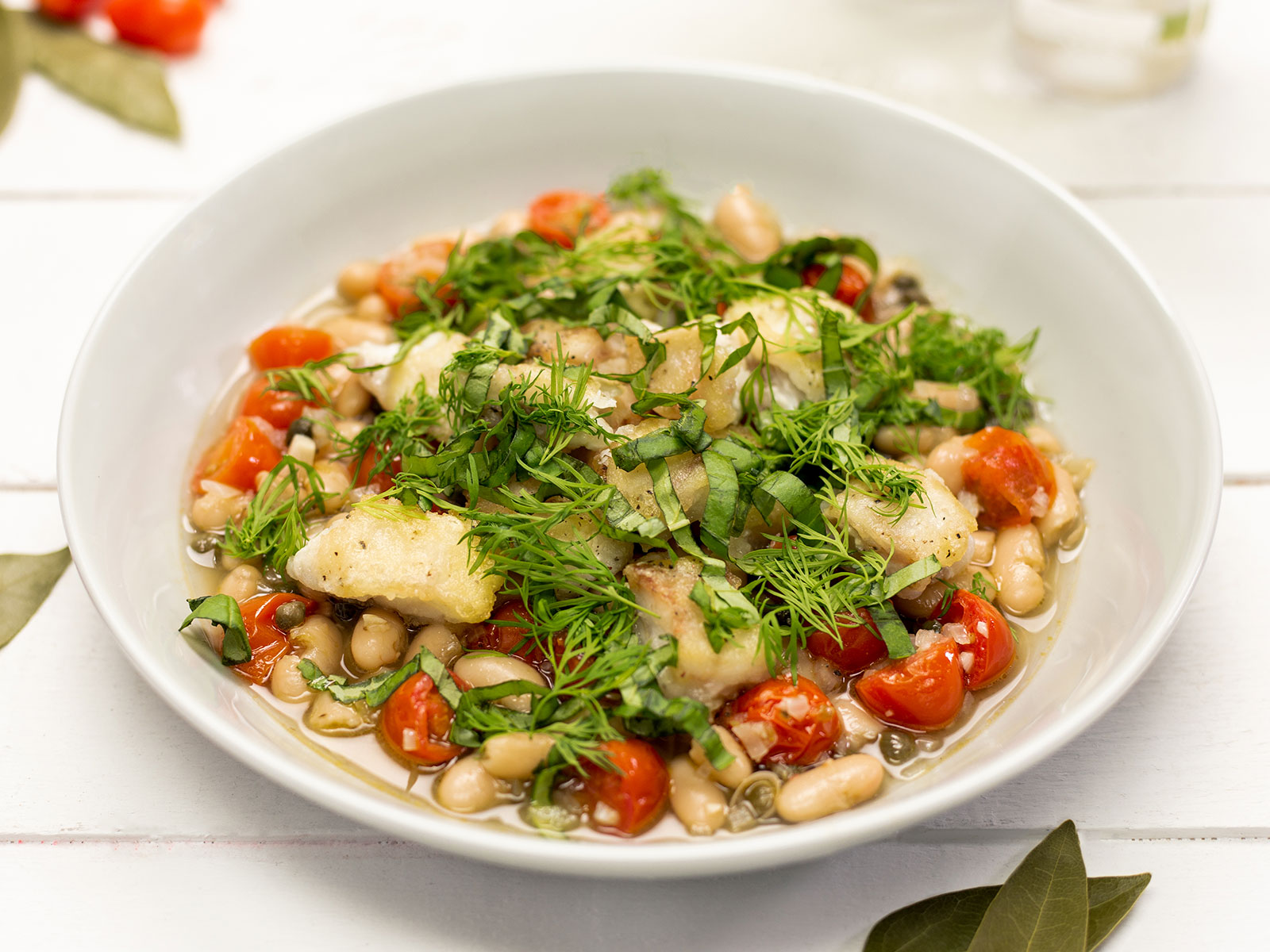 Hearty White Bean Stew with Wild Alaskan Pollock