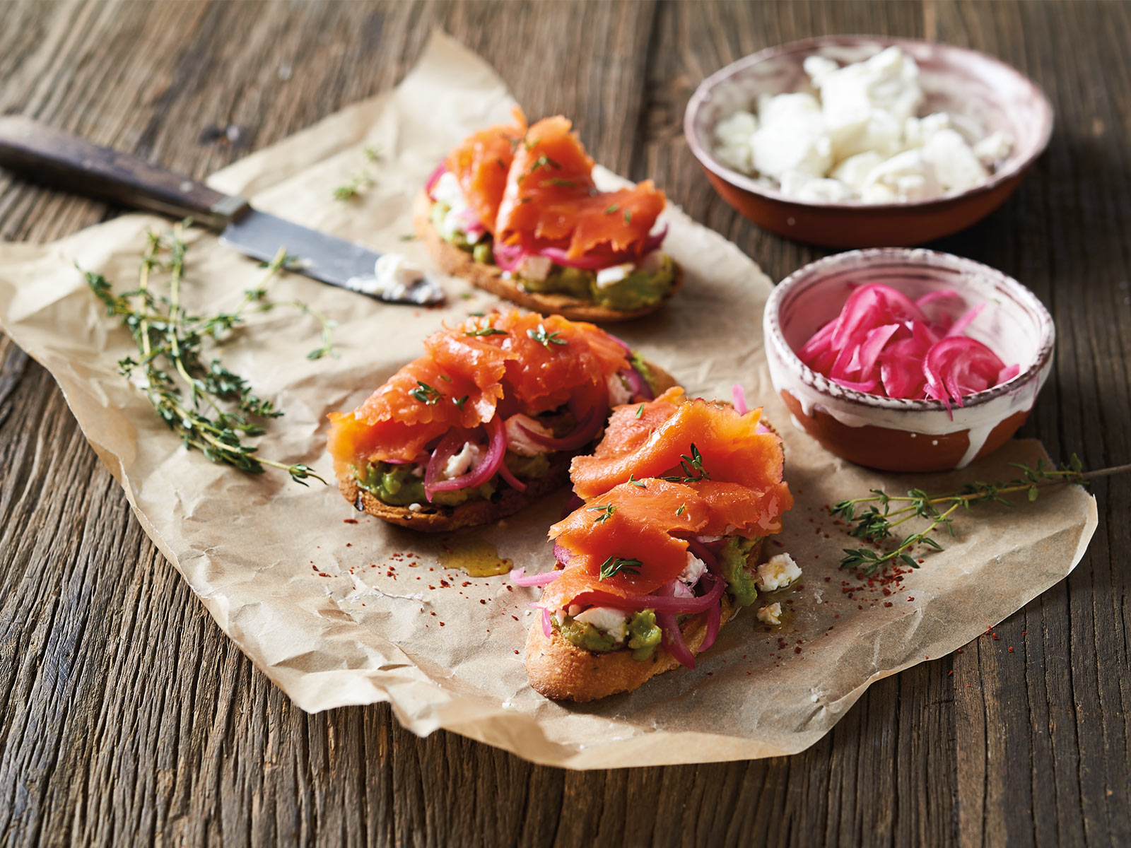 Smoked Salmon with Avocado and Goat Cheese Tartines