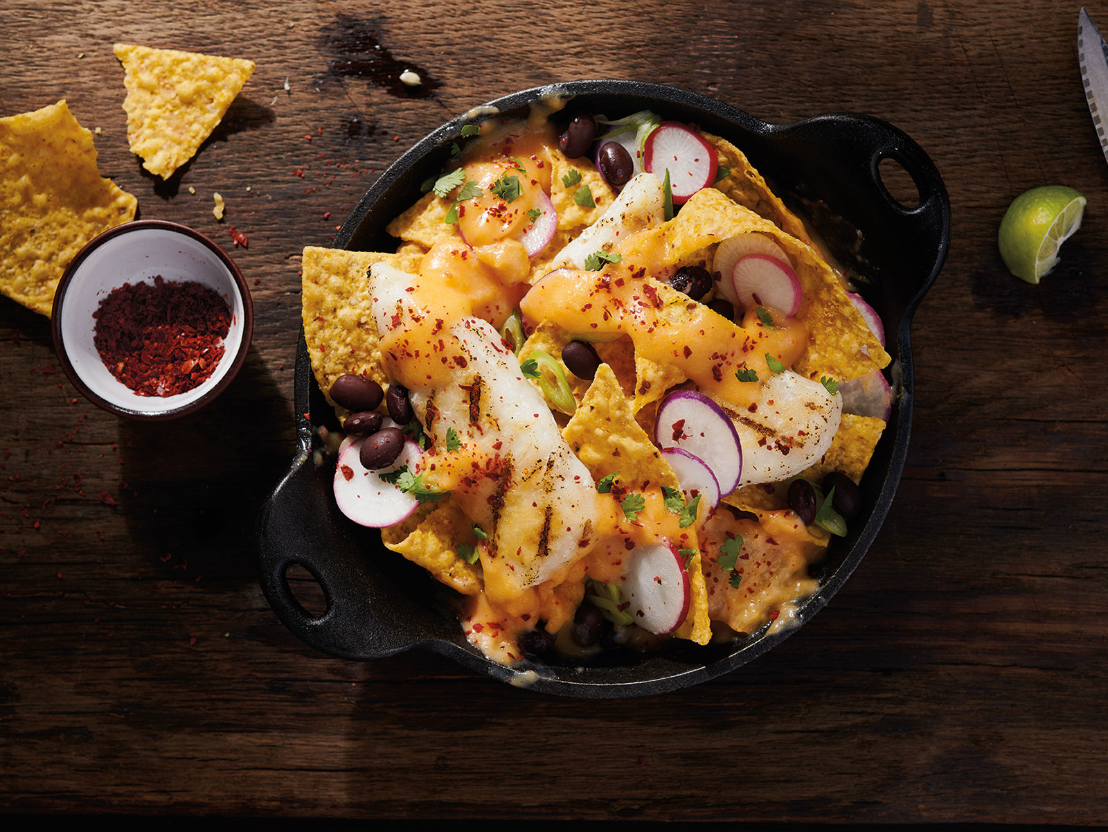 Korean Nachos with Grilled Wild Alaska Pollock & Kimchi Cheese Sauce