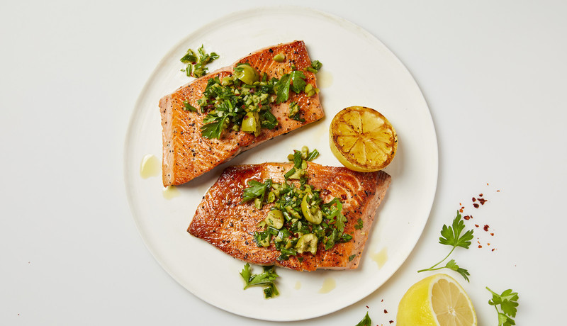 Seared Salmon with Green Olive Salsa Verde