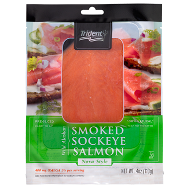 Trident Seafoods® Smoked Sockeye Salmon Nova Style 4 oz